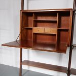 m23117 1950s Walnut 3-unit system cabinet with brass details / 2 cabinets and several shelves William Watting Scanflex Netherlands