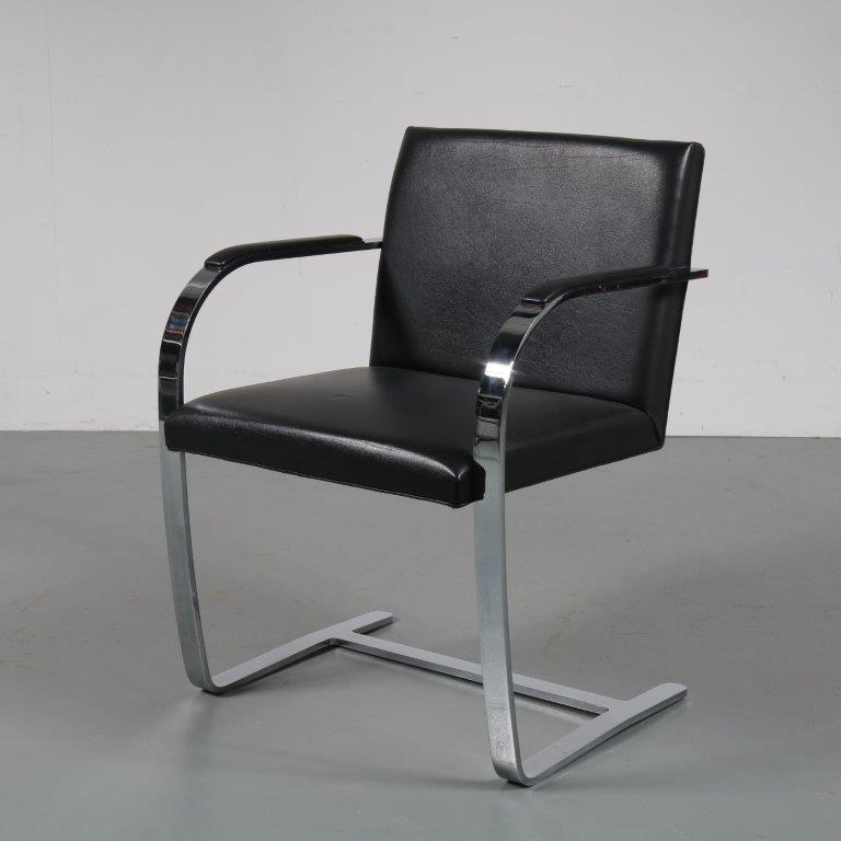 m23118 1960s BRNO flatbar side / desk chair chrome metal base with black sky upholstery Mies vd Rohe Knoll International / USA