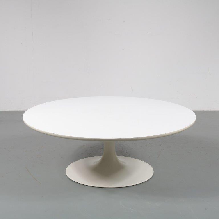 m23126 1970s Coffee table on white tulip shaped base with white laminated top Maurice Burke Arkana / UK