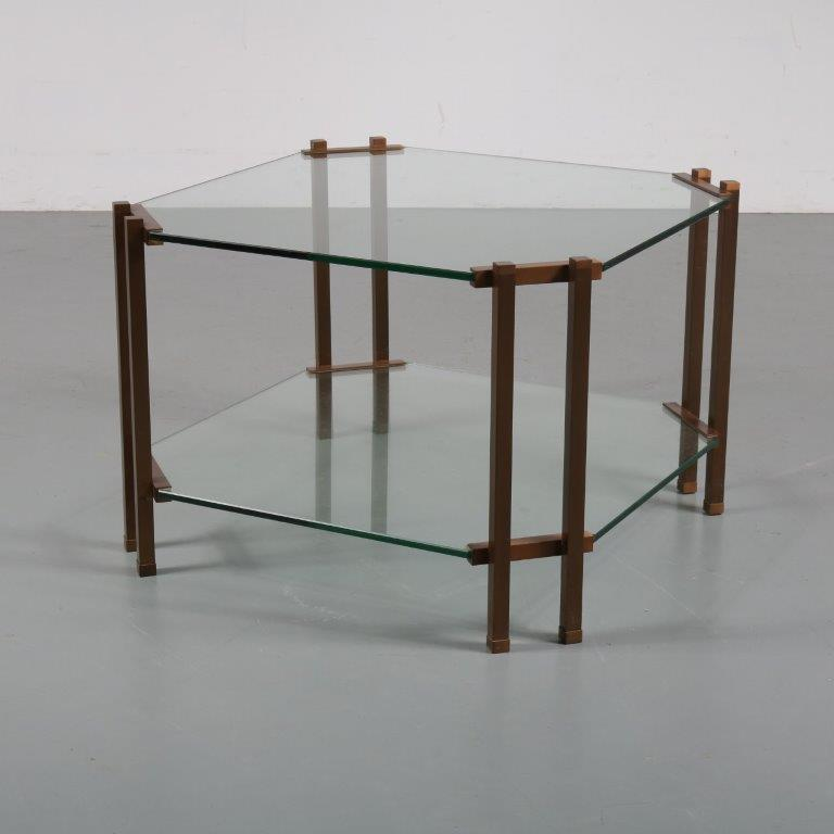 m23193 1970s Luxurious brass coffee table with two glass tops Peter Ghyczy Ghyczy / Netherlands