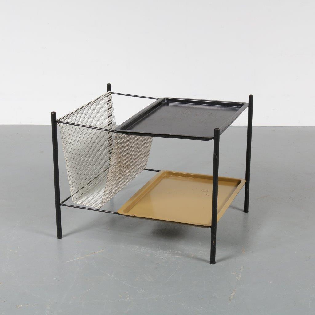 m22731 1950s Lovely metal side table with magazine rack and removable trays Pilastro / Netherlands