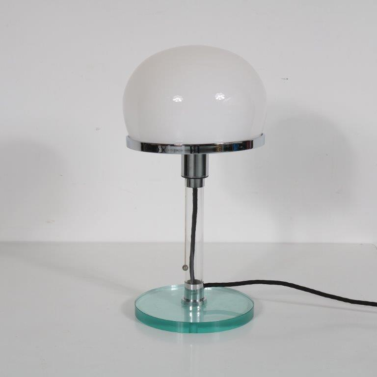 L4169 1980s Bauhaus Table Lamp designed by Wilhelm Wagenfeld, reproduced in Germany