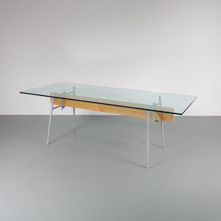 m22869 1990s Large dining table on molded aluminium with wooden base and thick glass top, model MT minimum Philippe Starck Cassina / Italy