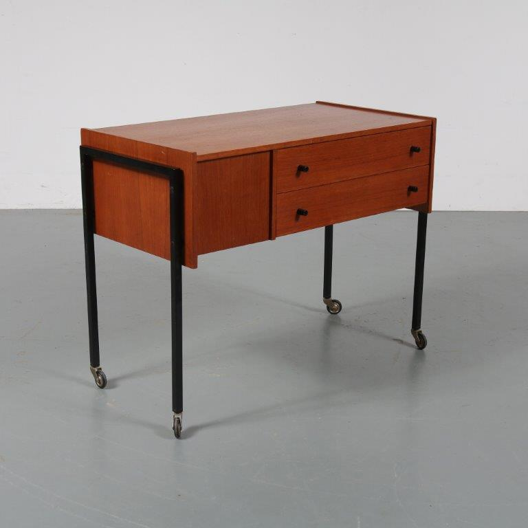 m23098 1960s Modern teak trolley on black metal base Netherlands