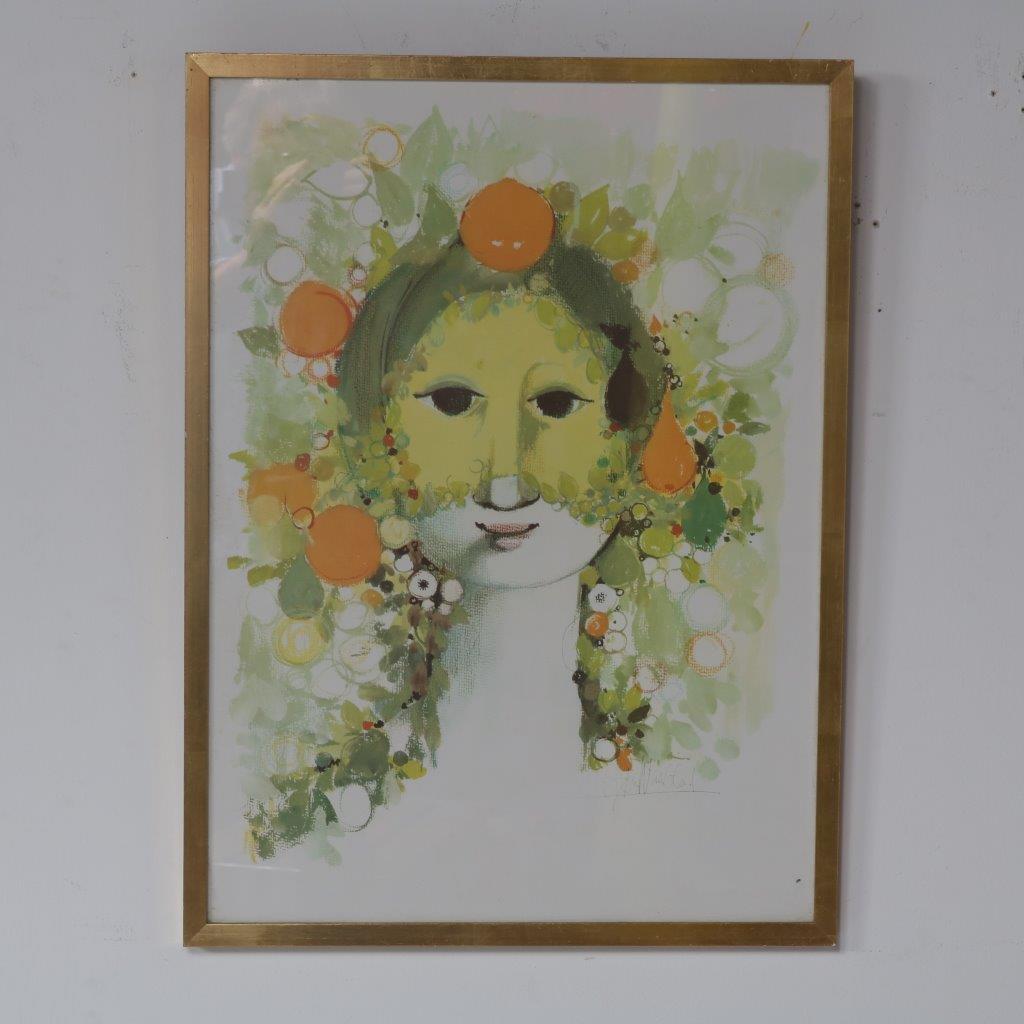 m23065 1960s Silkscreen artwork with golden wooden frame Bjorn Wiinblad Denmark