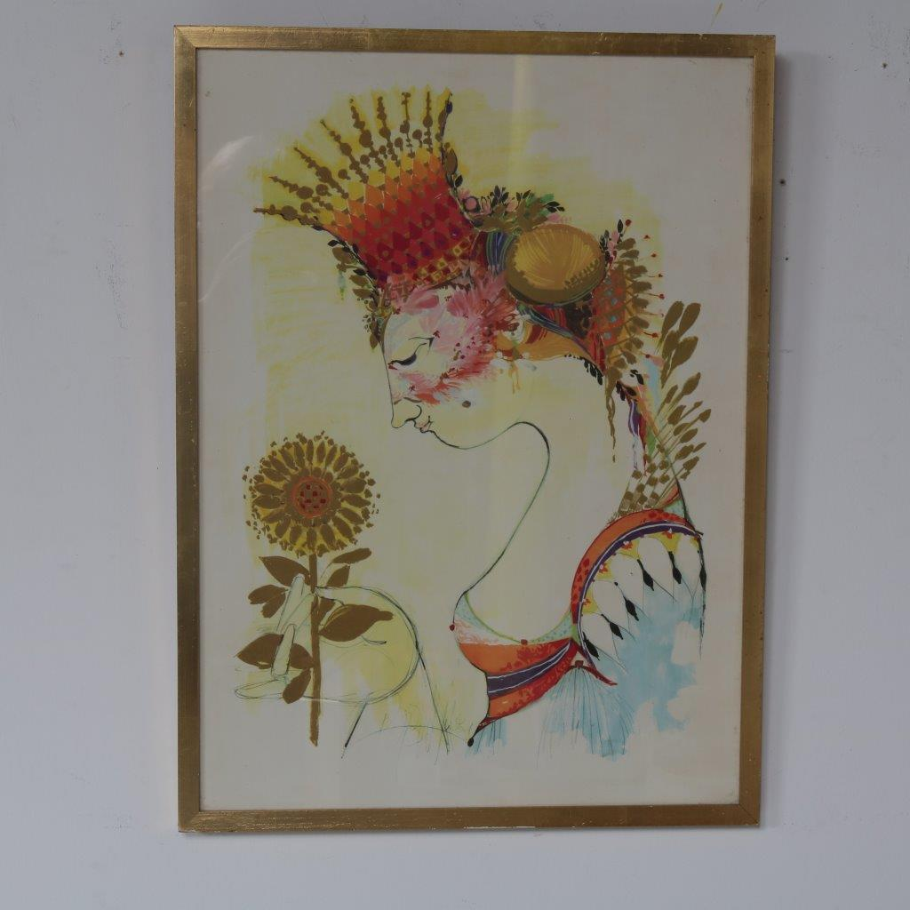 m23066 1960s Silkscreen artwork with golden wooden frame Bjorn Wiinblad Denmark