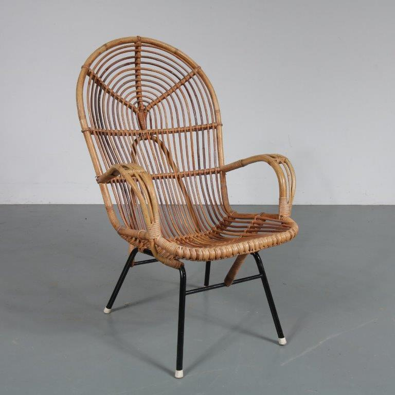 m23100 1960s Rattan easy chair on black metal base Dirk van Sliedregt Gebroeders Jonkers / Netherlands