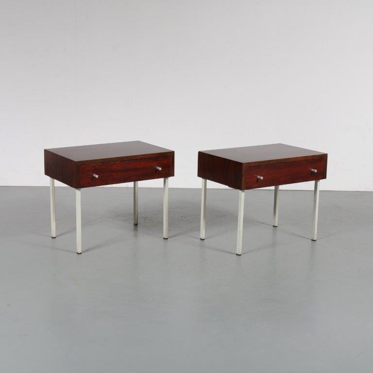 m23097 1960s Set of two rosewood night stands on white metal base Netherlands