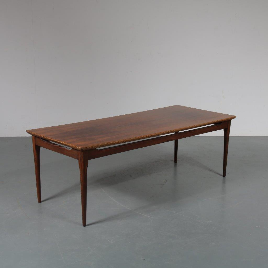 m23250 1950s Scandinavian rosewood rectangular coffee table Denmark