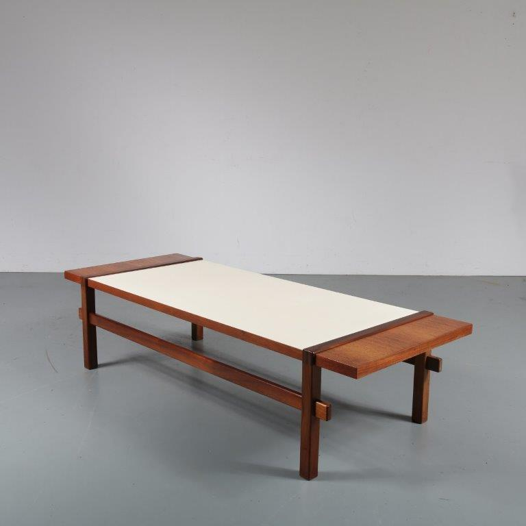 m23218 1960s Teak rectangular coffee table with reversable mechanism top Topform / Netherlands