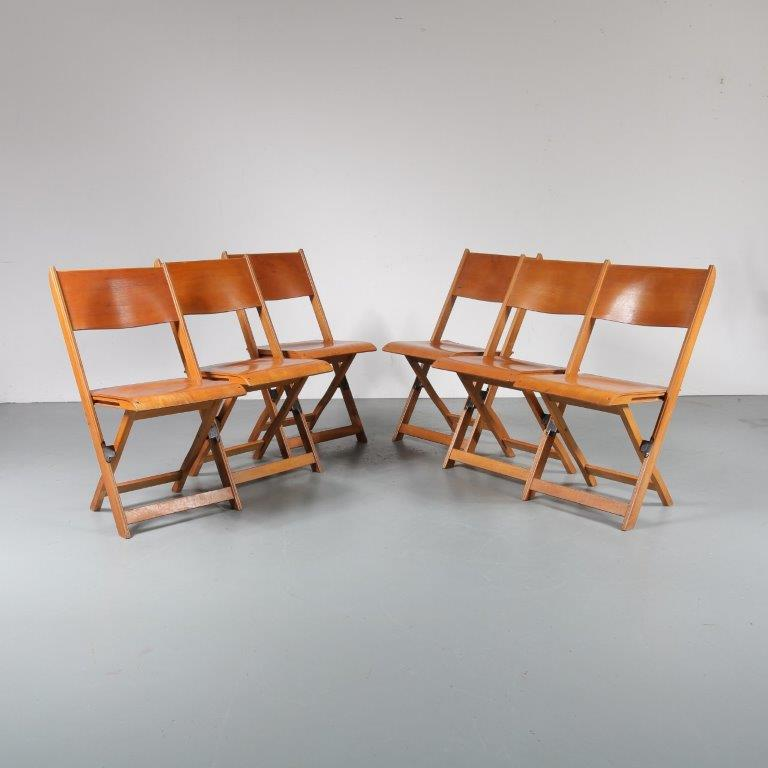 m23219 1950s Nice set of 6 birch wooden folding chairs Denmark