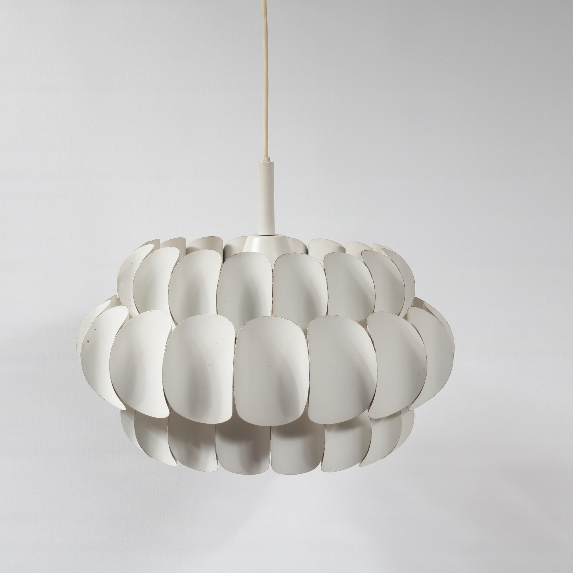 L4213 1960s White metal hanging lamp with three ring layers Thorsten Orrling Hans Agne Jacobsen / Sweden