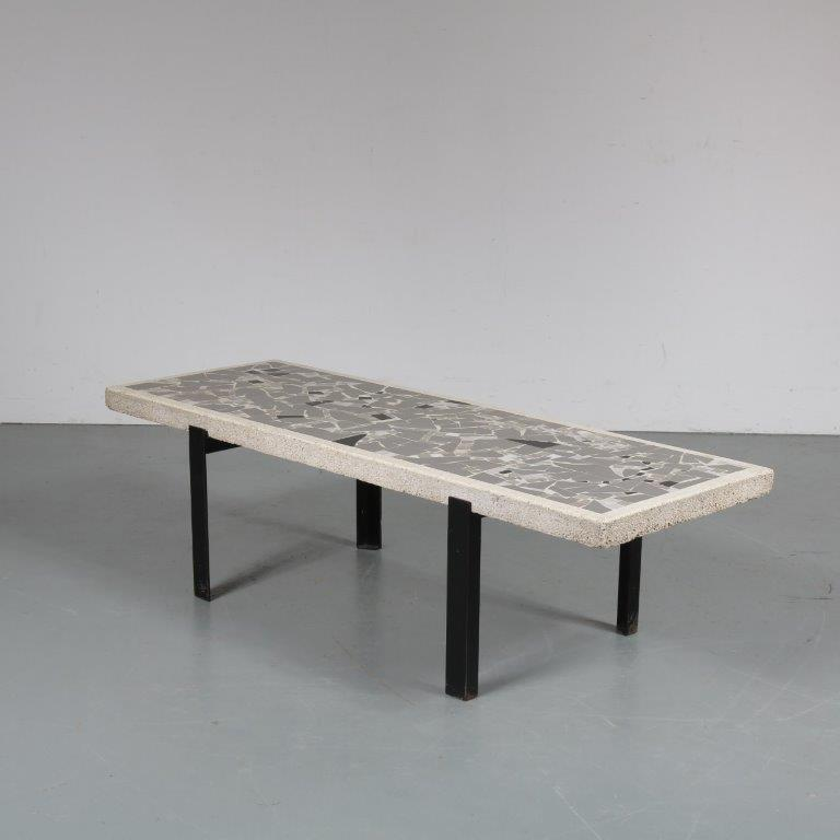 m23283 1950s Rectangular coffee table on black metal base with thick stone top with mosaic Netherlands