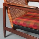 1960s Easy chair on teak with rattan base with fabric cushion P.J. Muntendam Gebroeders Jonkers / Netherlands