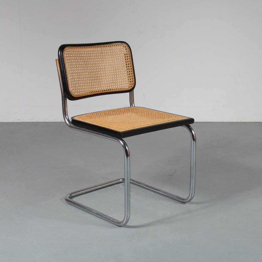 1970s Cesca dining chair in chrome plated tubular metal frame with woven rush upholstery Marcel Breuer Italy