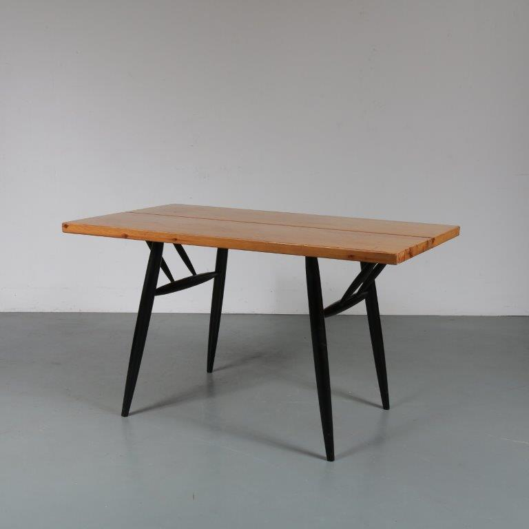 m23215 1950s Small pine dining table on black wooden legs Ilmari Tapiovaara Laukaan Puu / Finland