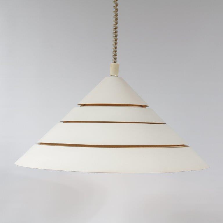 L4218 1960s White metal hanging lamp Hans Agne Jacobsen Markaryd / Sweden