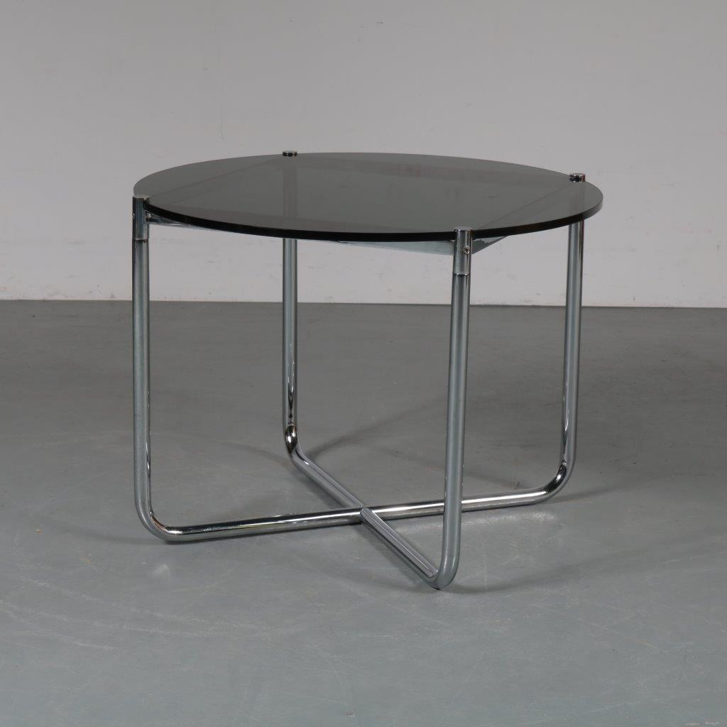 m23281 1970s Nice quality side / coffee table on chrome metal base with smoke glass top Ludwig Mies van der Rohe Knoll International / USA