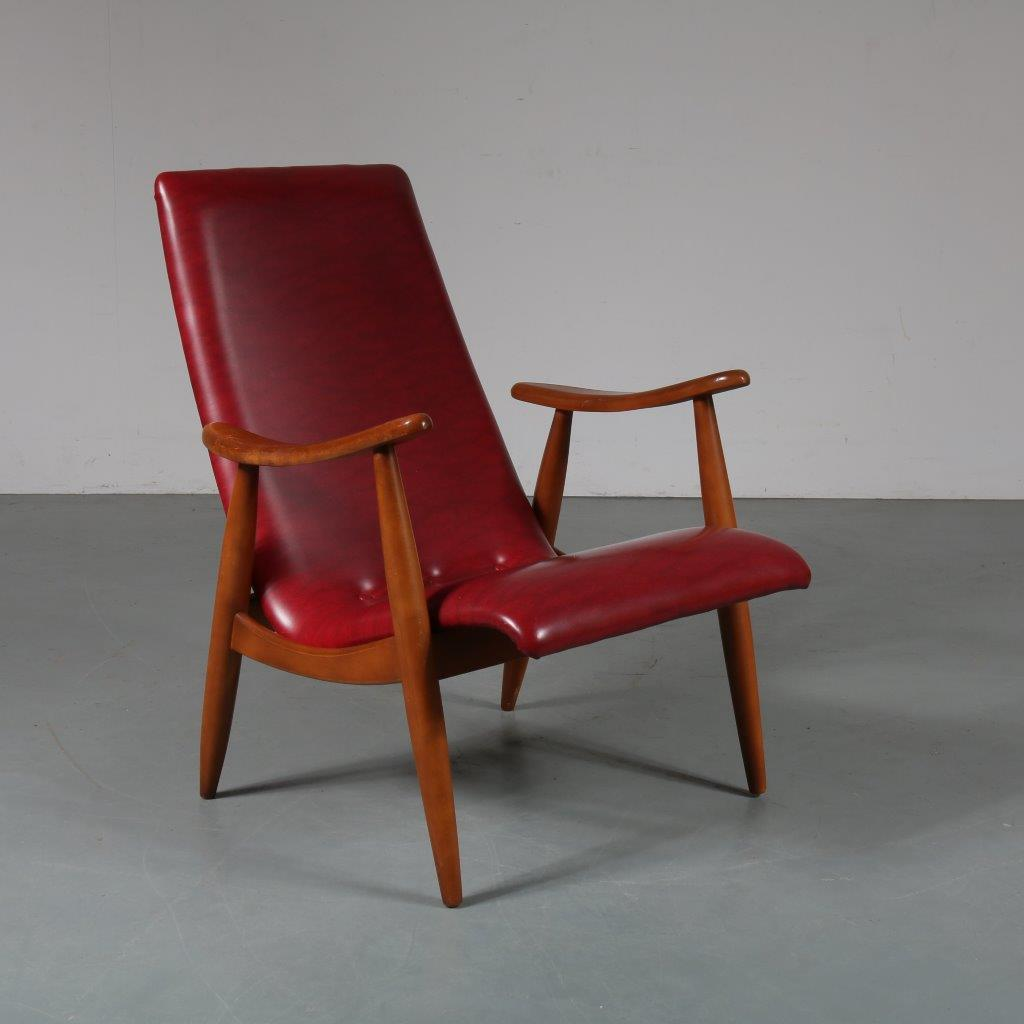 m23258 1950s Nice easy chair on beech base with red skai upholstery Louis van Teeffelen WéBé / Netherlands