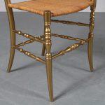 m23293 1970s Golden plated wooden Italian chair Superleggera Chiavara Italy