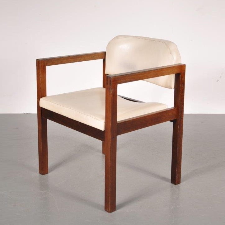 m20815 1960's Nice styled wengé easy chair with white skai upholstery