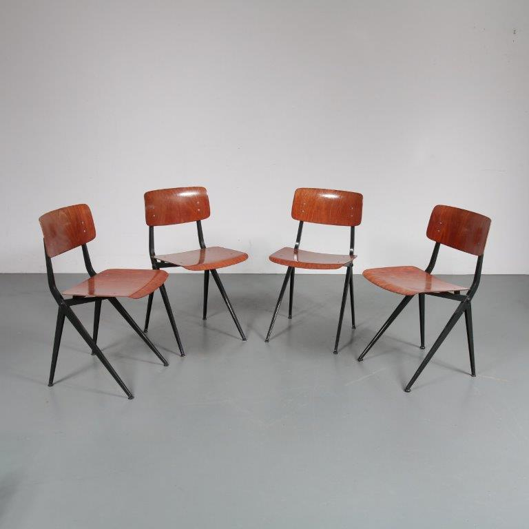 m23196 1960s Set of four black metal with pagholz seat and backrest dining chairs Marko / Netherlands