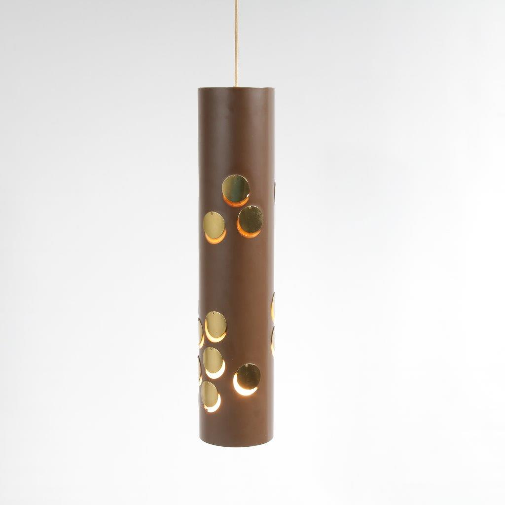 L4232 1970s Brown metal cylinder shaped hanging lamp with brass details Lyfa / Denmark