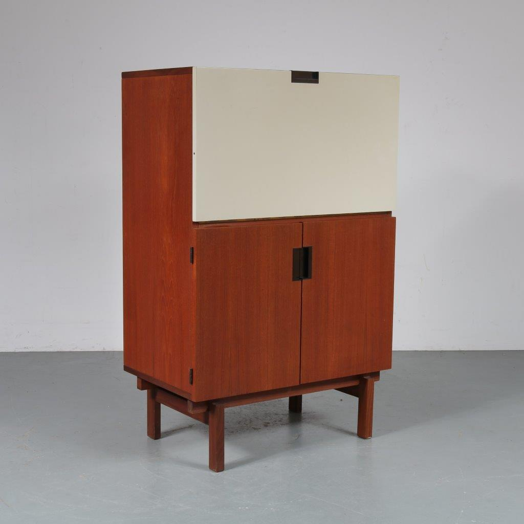 m23318 1950s Teak desk cabinet with one white door from the Japanese series Cees Braakman Pastoe / Netherlands