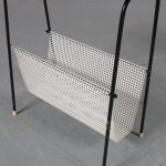 m21684 1960's Lovely styled side table with teak top and perforated metal magazine rack Netherlands