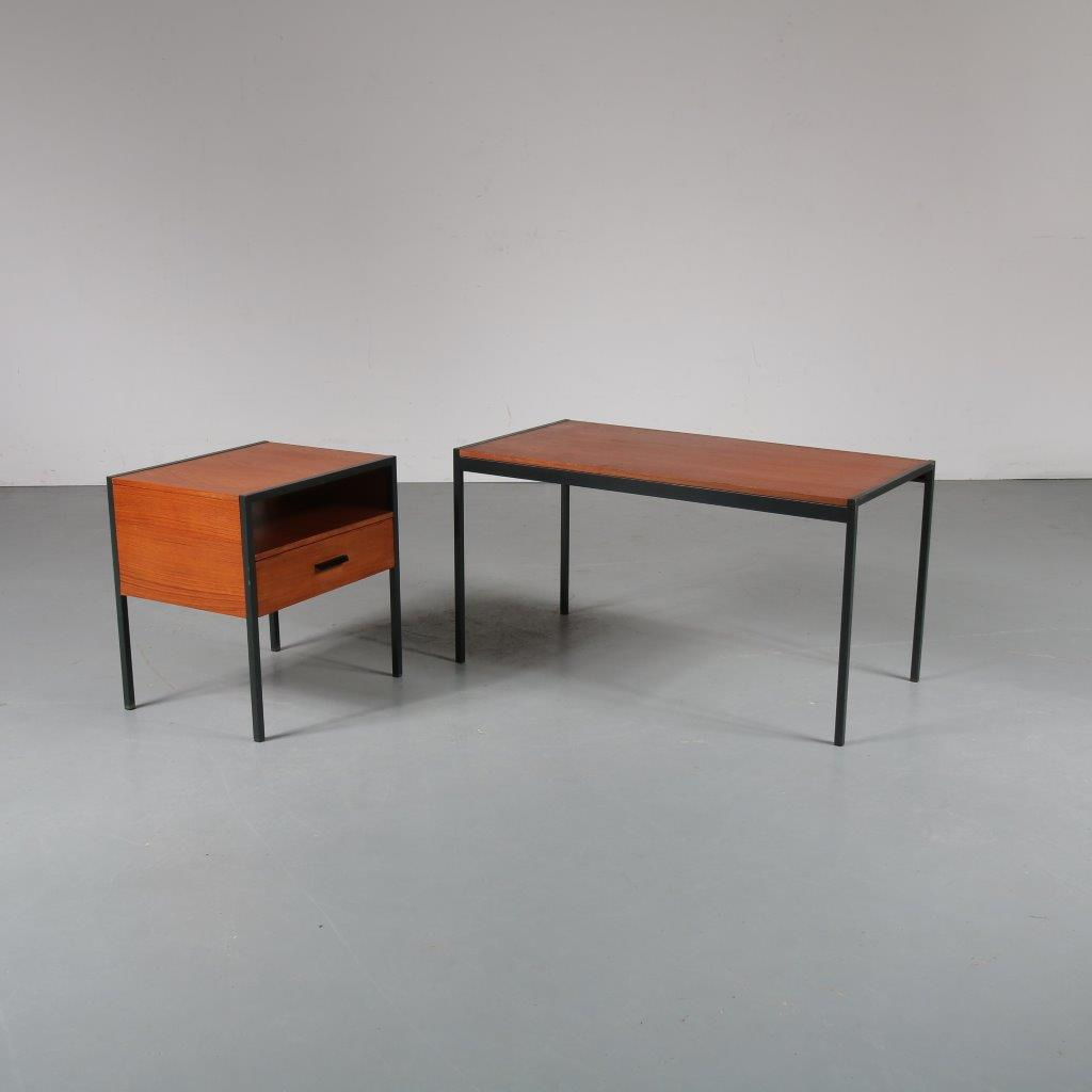 1950s Side table with night stand from the Japanese series, designed by Cees Braakman for Pastoe, the Netherlands