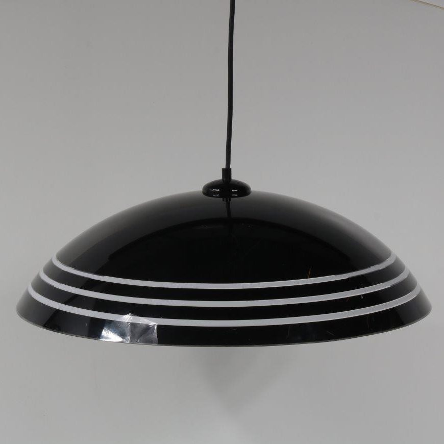 L4217 1970s Black with clear perspex hanging lamp Italy