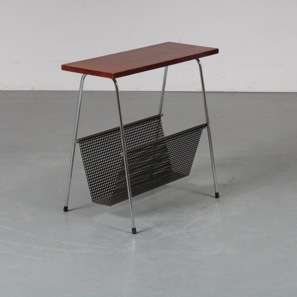 m22227 1960s Magazine table, chrome with black perforated base and rosewood top Netherlands