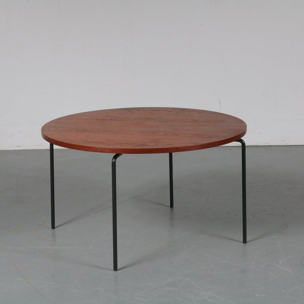 m23346 1950s Nice styled round coffee table, solid grey metal legs with teak top