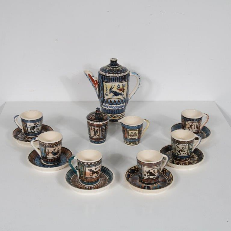 K3576 1950s Ceramics service 1 sugar pot, milk bown, 6 cups with dish / tray De Gats Valkenburg / NL