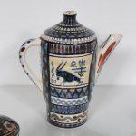 K3576 1950s Ceramics service 1 sugar pot, milk bown, 6 cups with dish / tray De Gats Valkenburg / NL