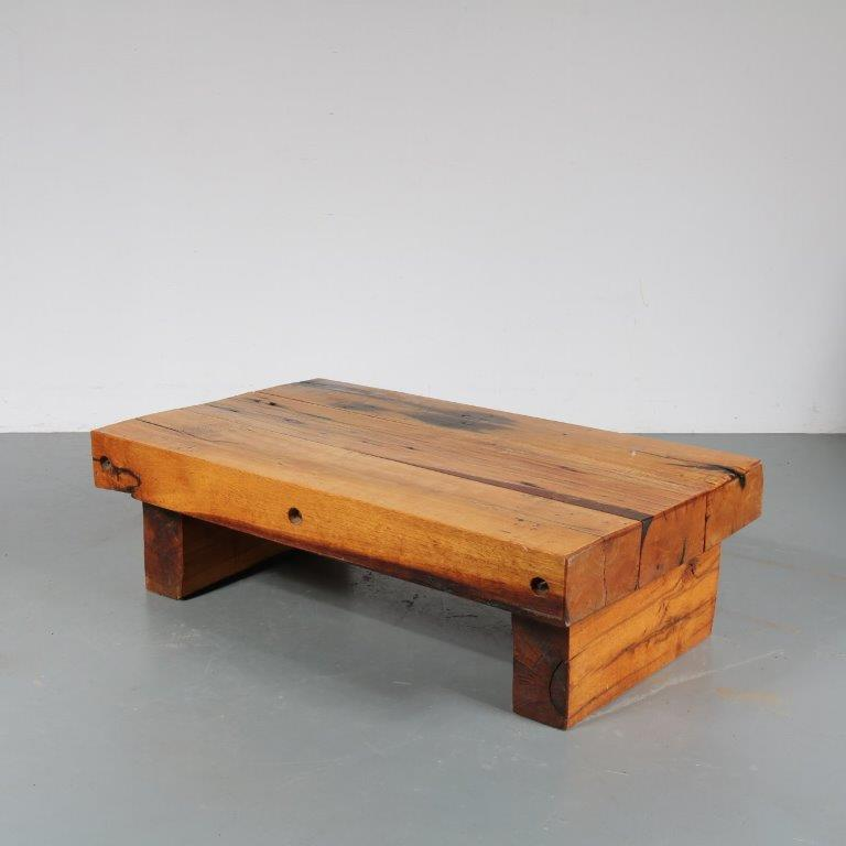 m23415 1970s Solid oak brutalist style coffee table Netherlands