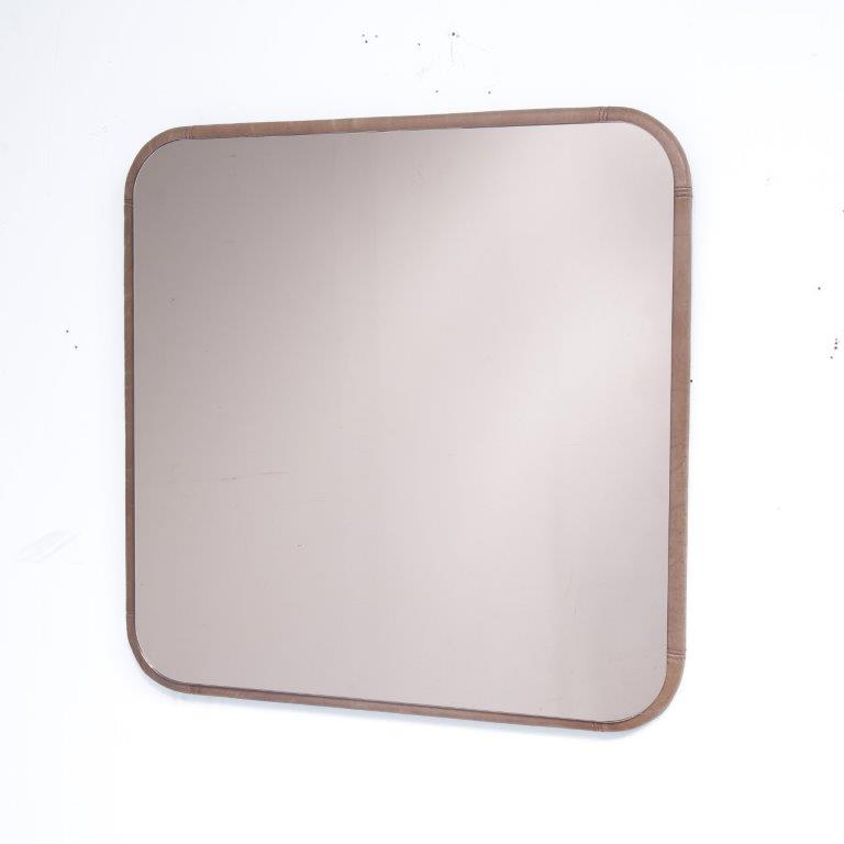 m22723 1970s Beautiful wall mounted mirror with brown leather edge De Sede / Switzerland