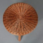 m23110 1950s Tripod stool with wicker seat Tony Paul USA
