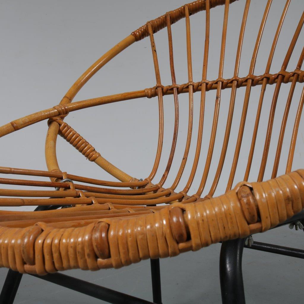 m23087 1950s Rattan chair on black metal base Dirk van Sliedregt Gebroeders Jonkers / Netherlands