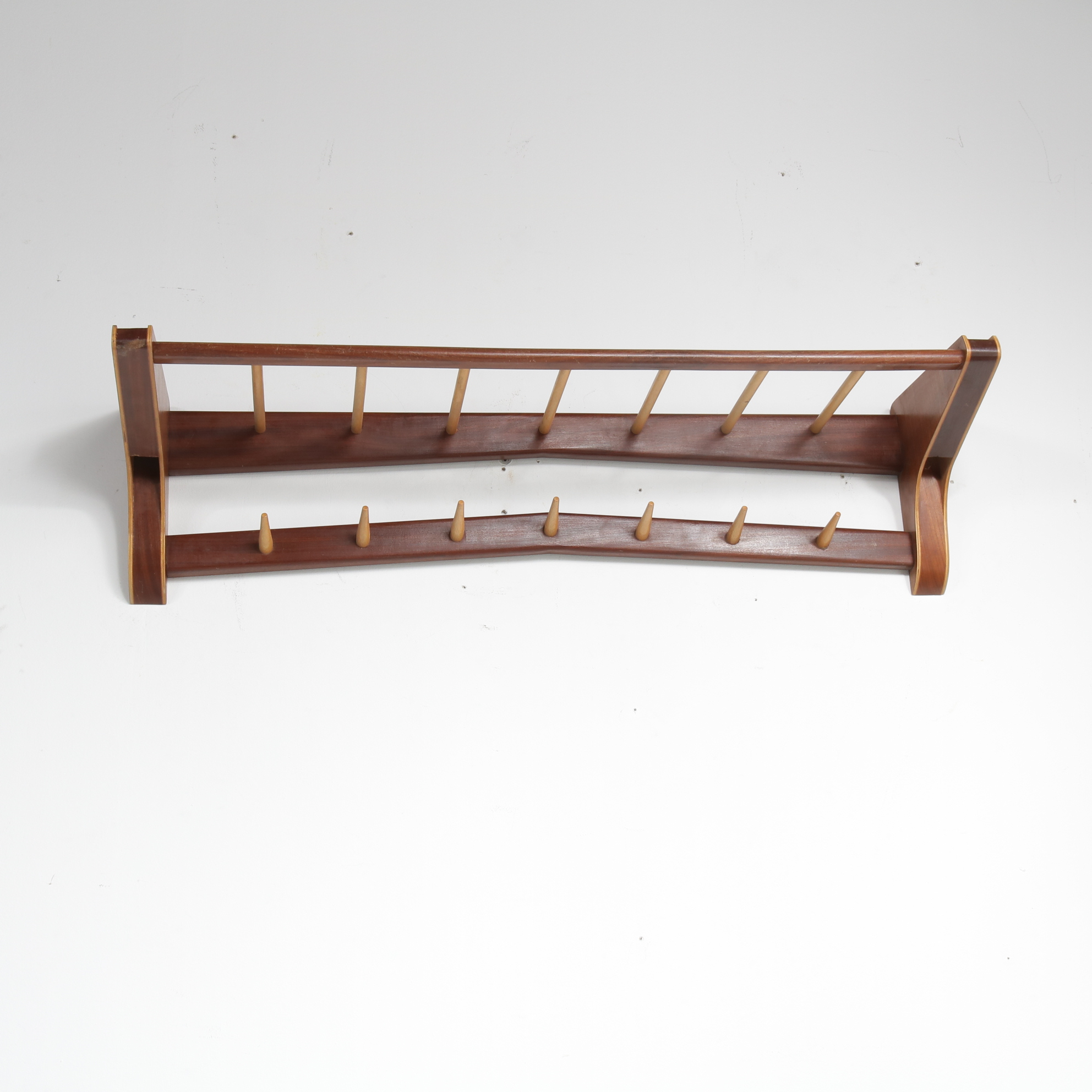 m23300 1950s Scandinavian style wall mounted teak with birch wooden coat rack