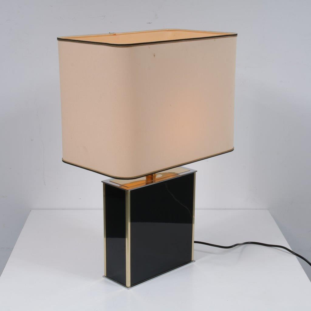 L4186 1970s Luxurious table lamp laminated wood fabric hood