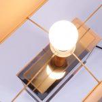 L4186 1970s Luxurious table lamp laminated wood fabric hood