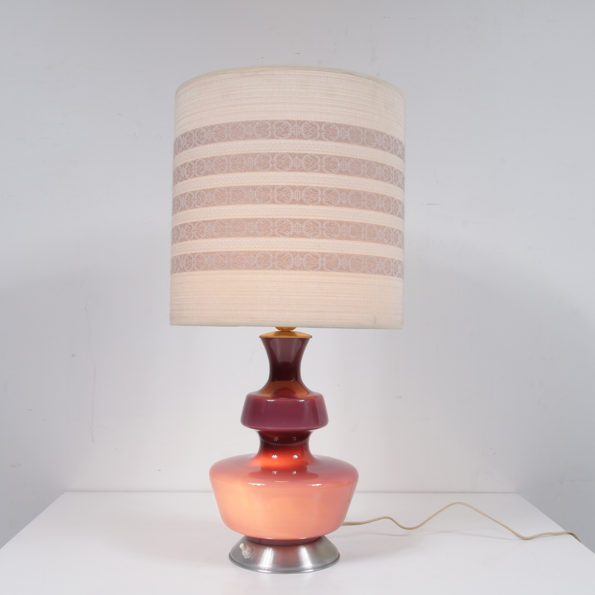 L4231 1960s Danish glass table lamp with original fabric hood Holmgaard / Denmark