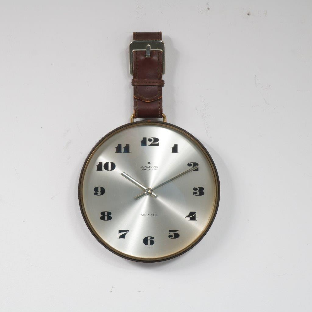 K3604 1970s Wall mounted clock with leather belt Junghans / Germany