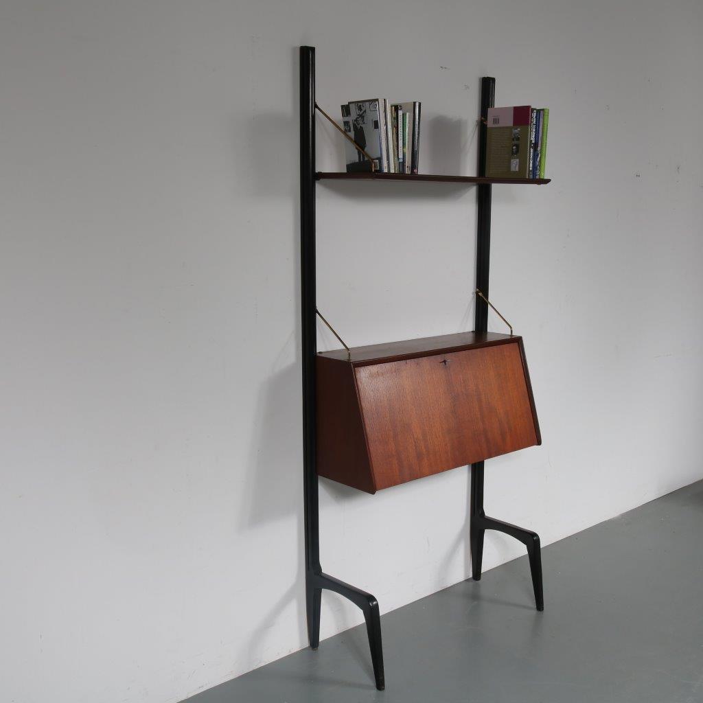 m23414 1950s Teak with black wooden stands wall resting system cabinet Louis van Teeffelen WéBé / Netherlands