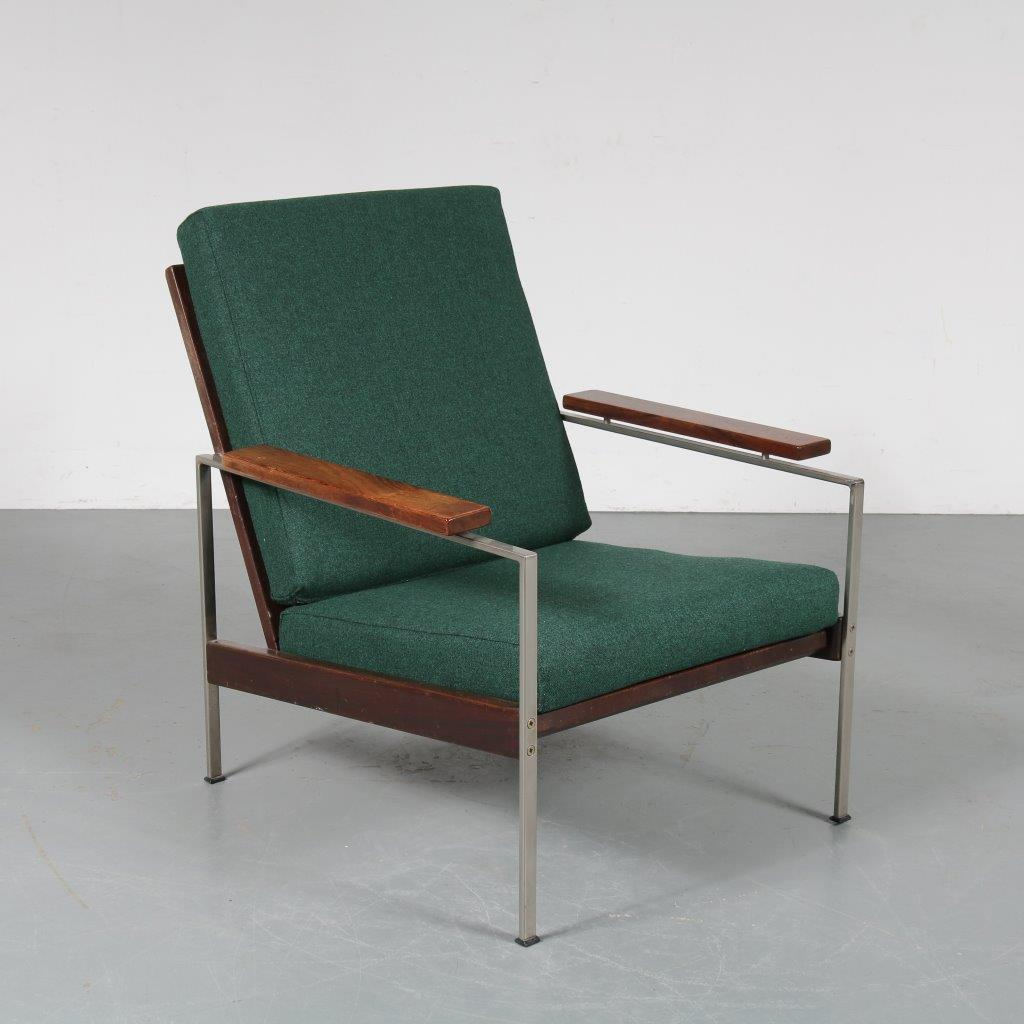 m23312 1960s Modern easy chair on chrome metal with rosewooden base and new upholstered cushions Rob Parry Gelderland / Netherlands