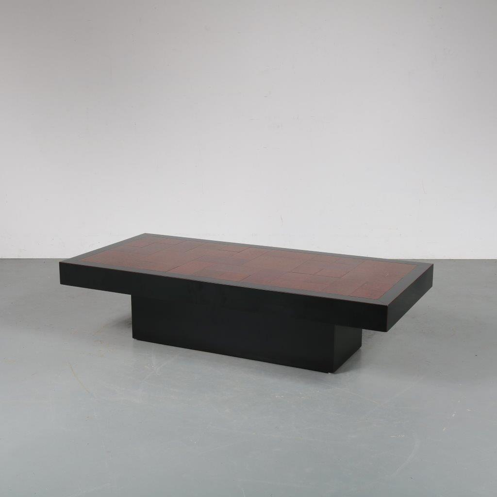 m23345 1970s Luxury coffee table, black lacquered with brass, copper and silver inlays Belgium