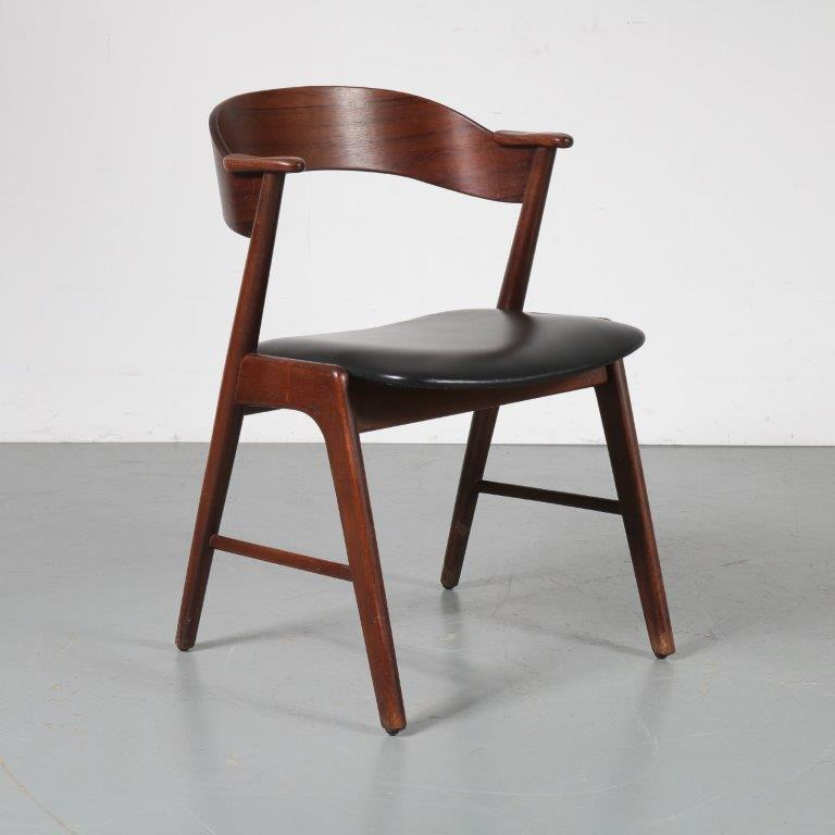 m23204 1950s Dining / desk chair in rosewood with black leather upholstery Kai Kristiansen Korup / Denmark