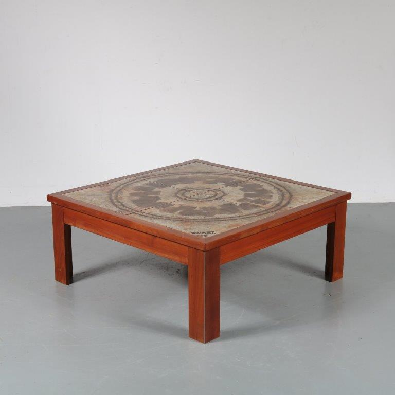 m23454 1970s Square coffee table, wooden with aluminium base and ceramics top Ox-Art / Denmark