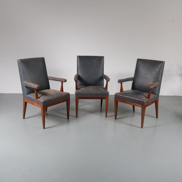 m22567 1950s Rosewood conference chair with blue leather upholstery Theo Tempelman Pander / Netherlands